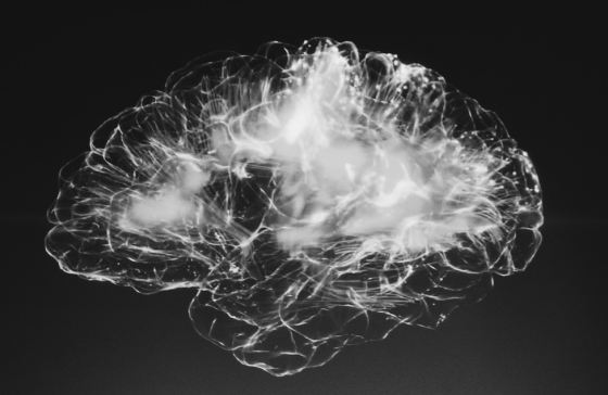 black and white image showing lit up brain